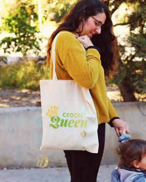 bolsa tela crochet queen